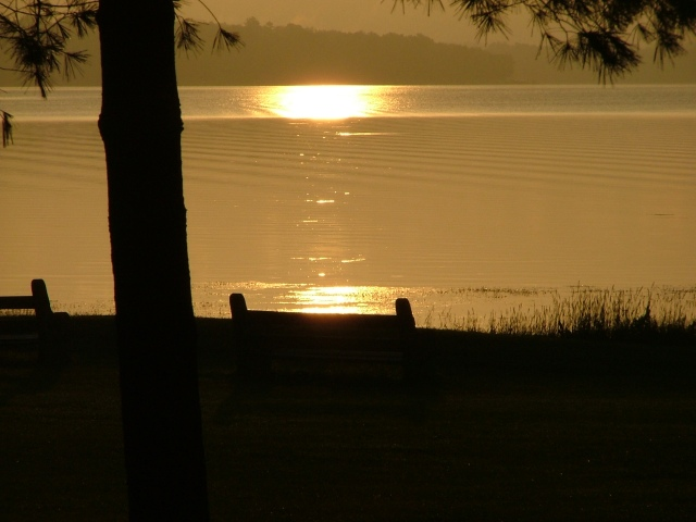 cabin, sunrise, lake, benches, JUne 27th, 2013 010