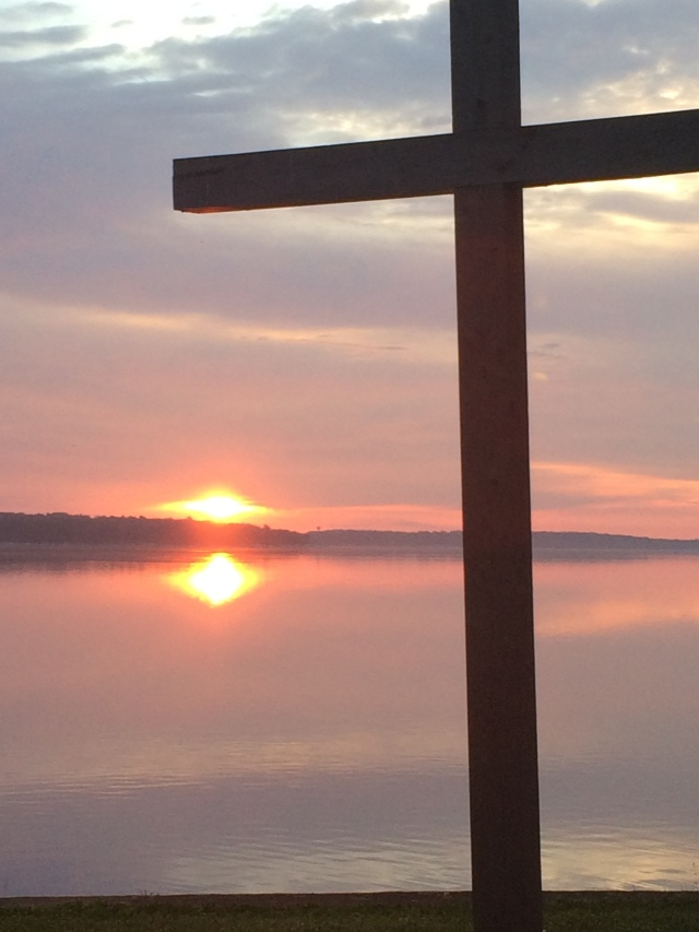 large cross at the lake